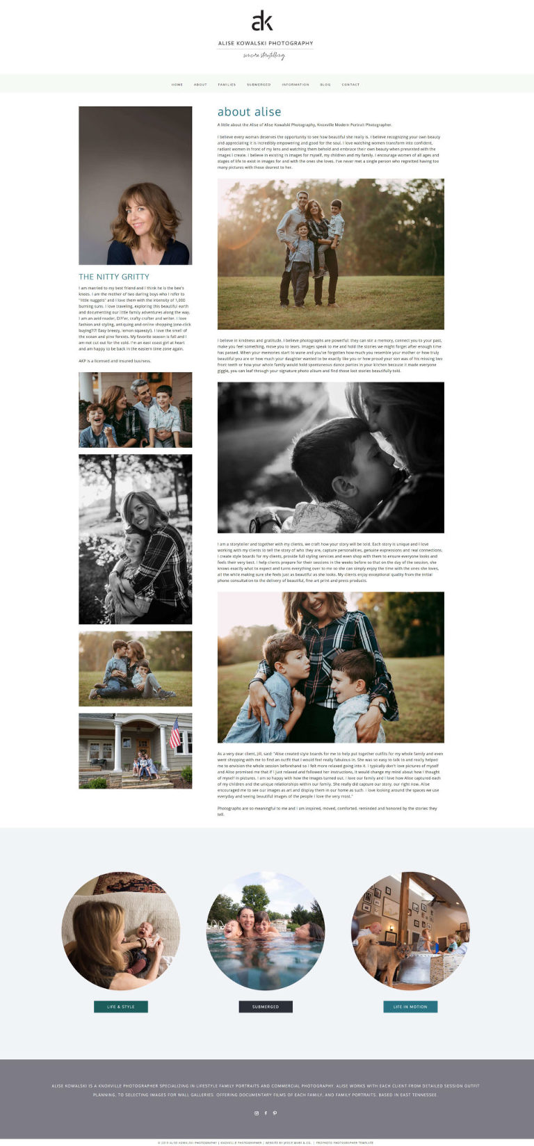 Pro Photo designer Jessie Mary & Co created this custom website for Knoxville photographer Alise - about the artist