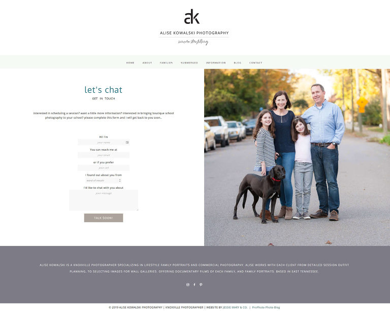 Pro Photo designer Jessie Mary & Co created this custom website for Knoxville photographer Alise - contact