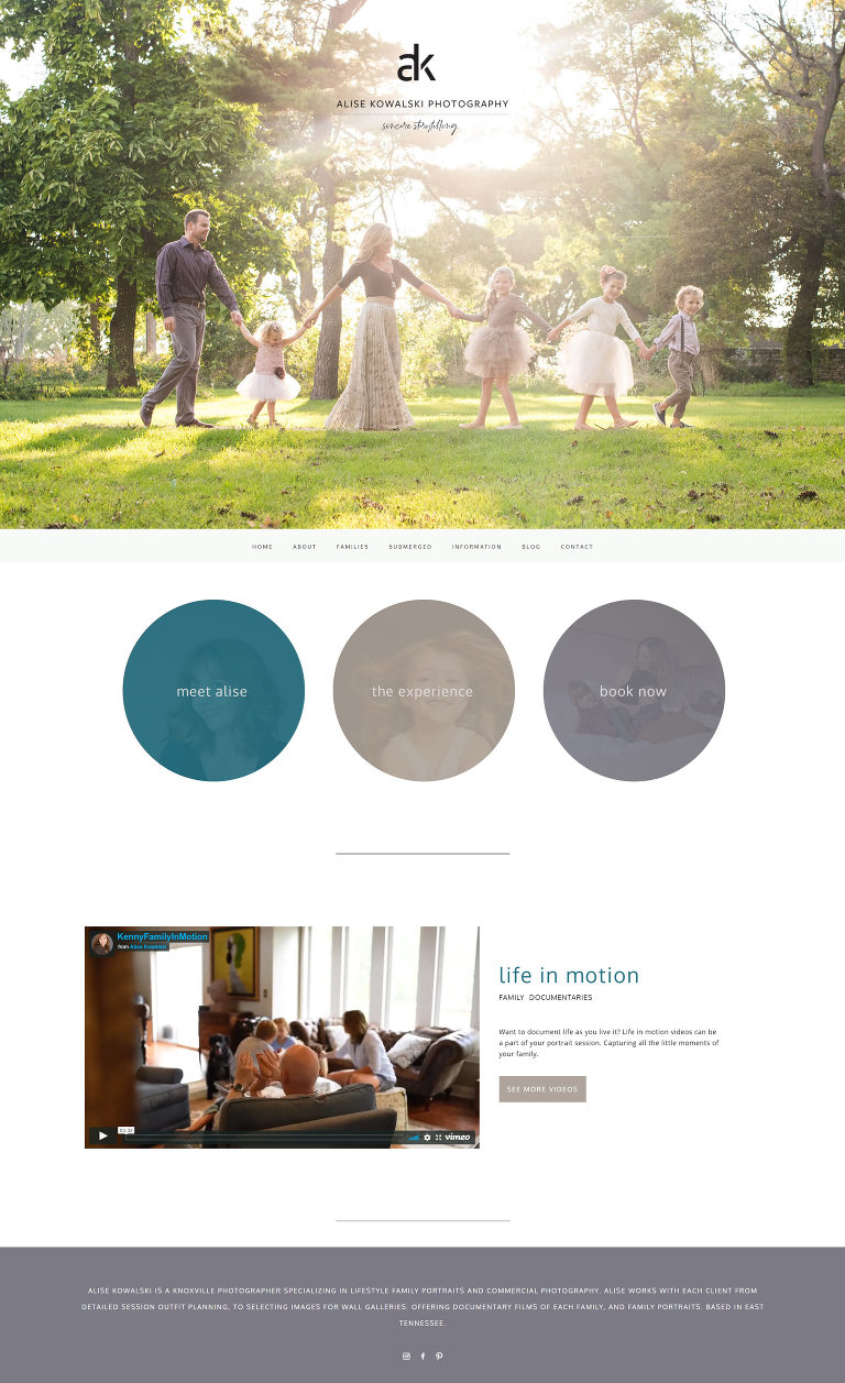 Pro Photo designer Jessie Mary & Co created this custom website for Knoxville photographer Alise