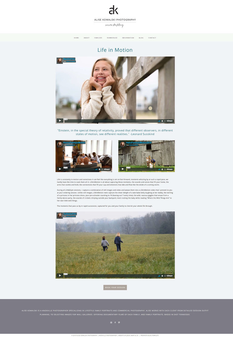 Pro Photo designer Jessie Mary & Co created this custom website for Knoxville photographer Alise - life in motion