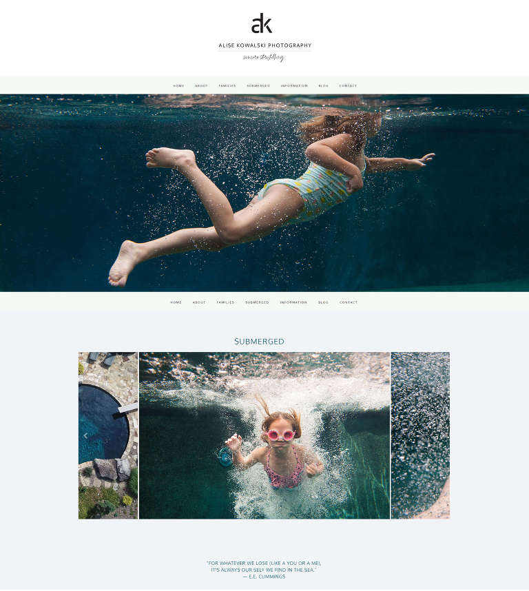 Websites for Creatives - fun quirky web design for knoxville photographer Alise Kowalski