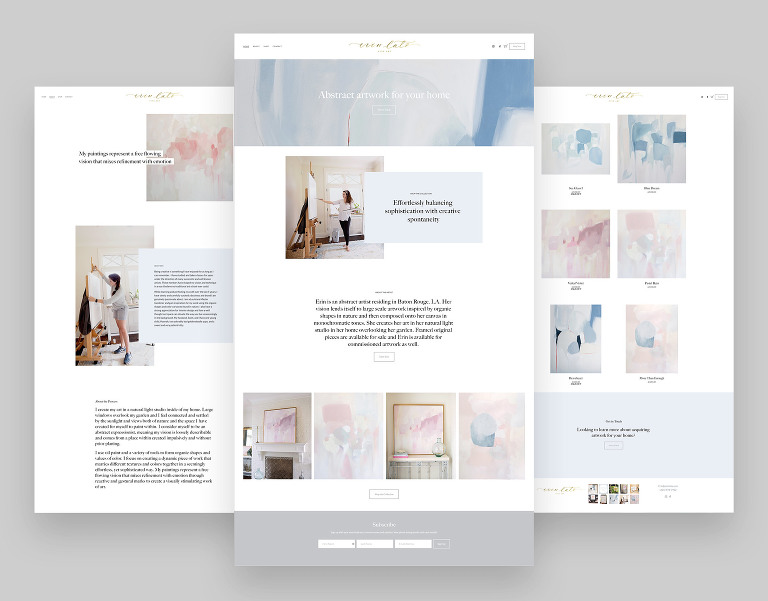 ecommerce squarespace website for painter