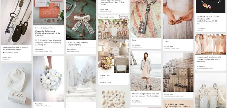 inspiration board for photography website