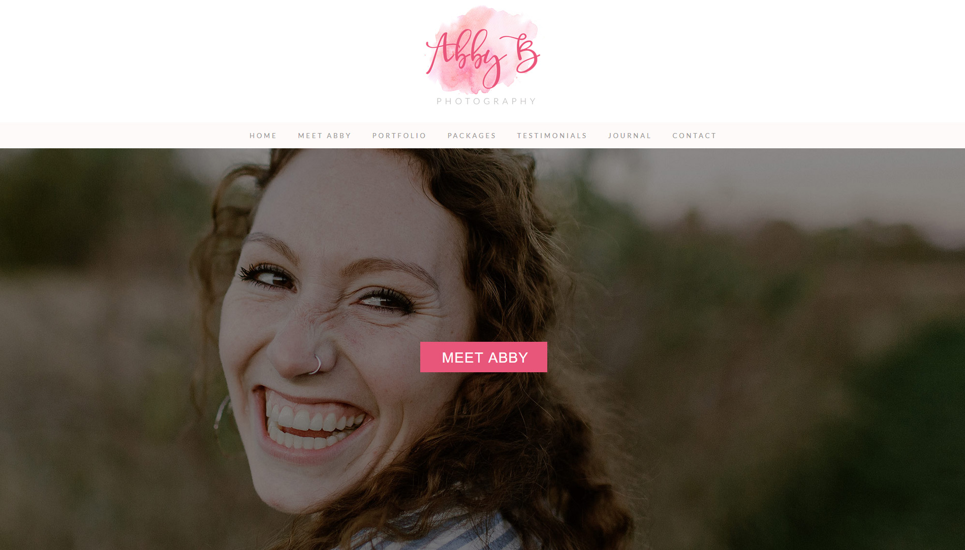 about the photographer - website design